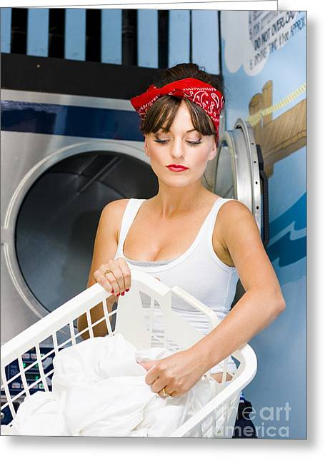 Washing Machine Greeting Cards - Woman Washing Clothes Greeting Card by Ryan Jorgensen
