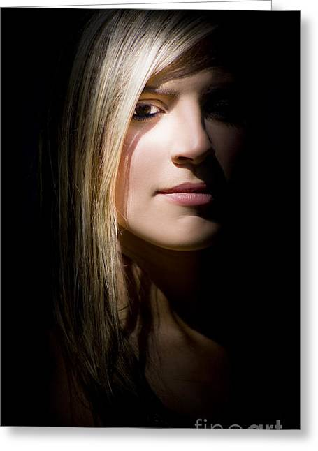 Woman Watching From The Shadows Greeting Card by Jorgo Photography - Wall Art Gallery