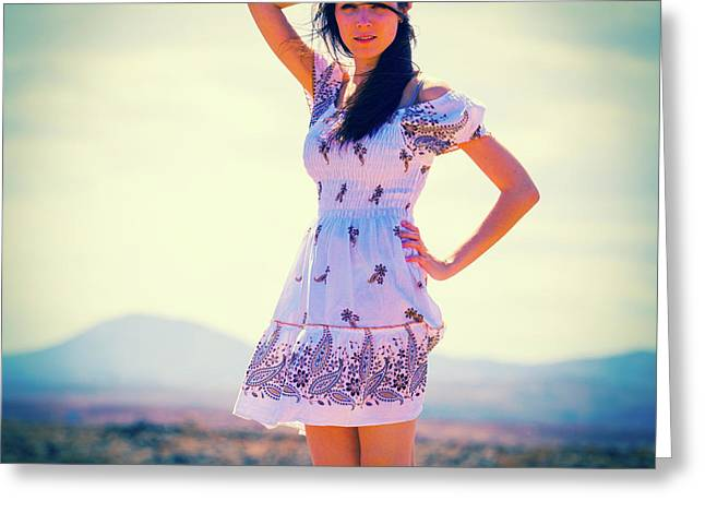 Woman Wearing Summer Dress Greeting Card by Wladimir Bulgar