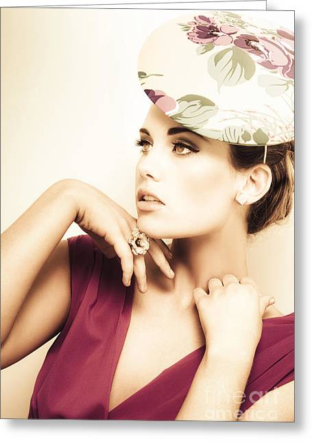 Woman Wearing V-neck Blouse And Floral Hat Greeting Card by Jorgo Photography - Wall Art Gallery