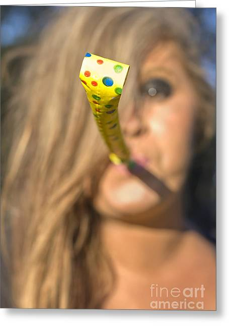 Woman Whistle Blower Greeting Card by Jorgo Photography - Wall Art Gallery