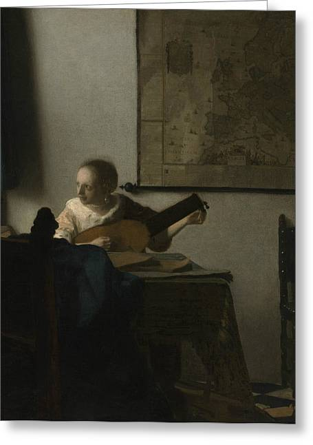 Lute Paintings Greeting Cards - Woman with a Lute Greeting Card by Johannes Vermeer