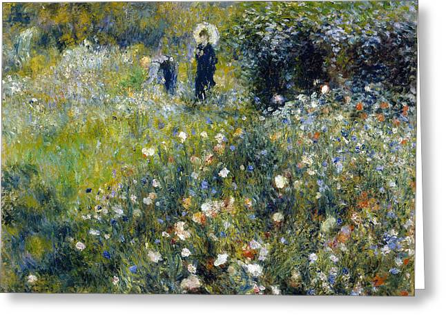 Woman In A Dress Greeting Cards - Woman with a Parasol in a Garden Greeting Card by Pierre-Auguste Renoir