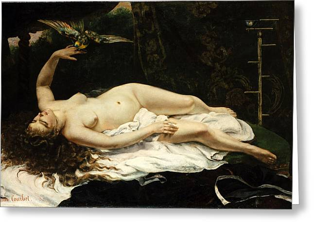 Gustave Courbet Greeting Cards - Woman with a Parrot Greeting Card by Gustave Courbet