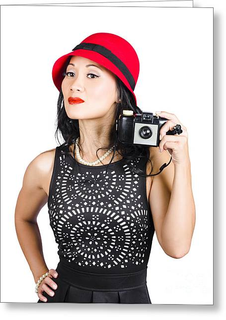 Woman With An Old Camera Greeting Card by Jorgo Photography - Wall Art Gallery