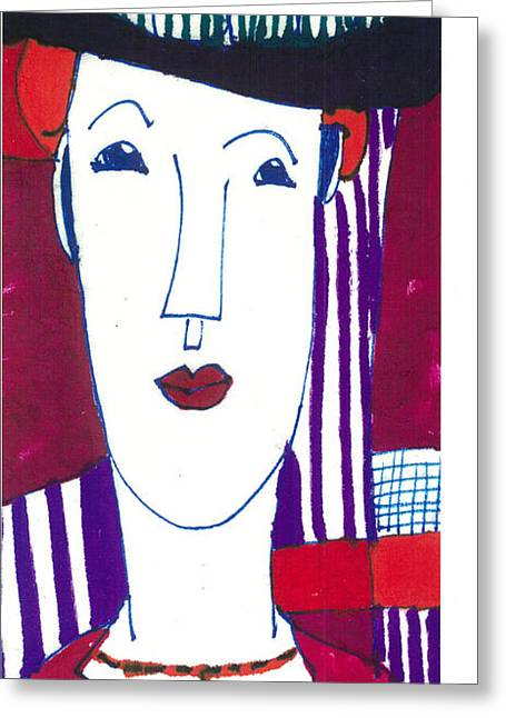 Modigliani Mixed Media Greeting Cards - Woman with Black Hat Greeting Card by Don Koester