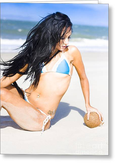 Breezy Greeting Cards - Woman With Coconut Greeting Card by Ryan Jorgensen