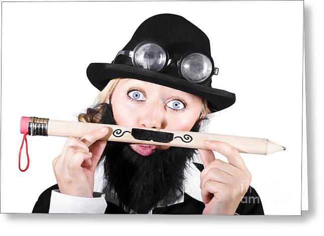 Mustache Greeting Cards - Woman With Fake Beard Holding A Pencil Having Mustache Greeting Card by Ryan Jorgensen