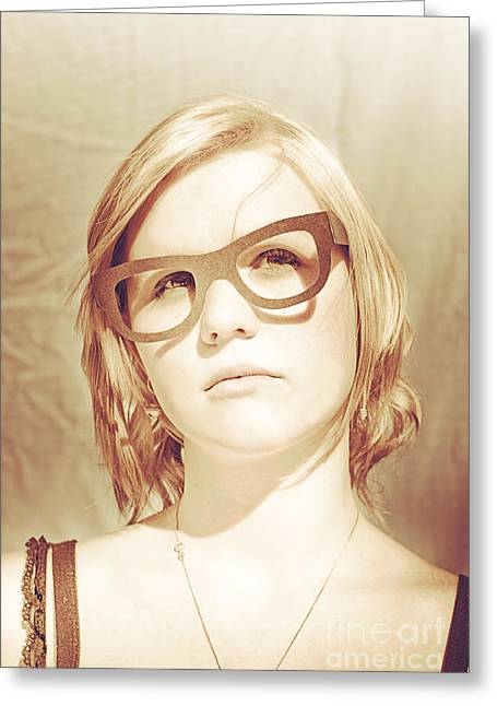 Over Sized Greeting Cards - Woman With Large Sunglasses Greeting Card by Ryan Jorgensen