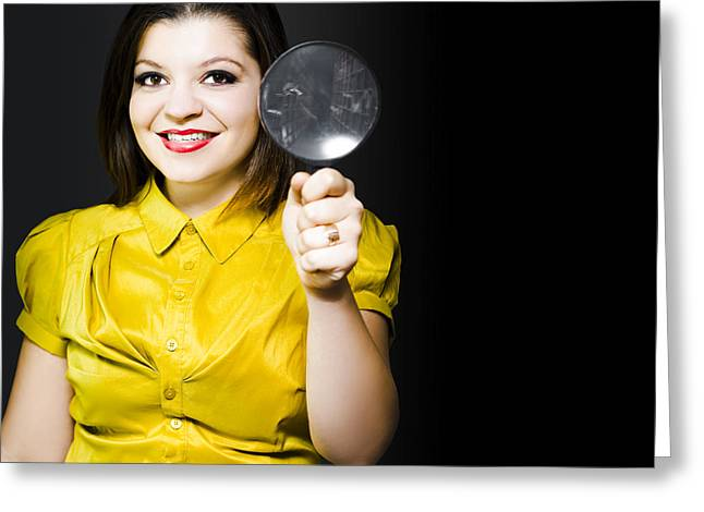 Woman With Magnifier Doing Data Recovery Greeting Card by Jorgo Photography - Wall Art Gallery