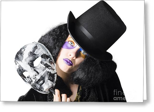 Woman With Mask Greeting Card by Jorgo Photography - Wall Art Gallery