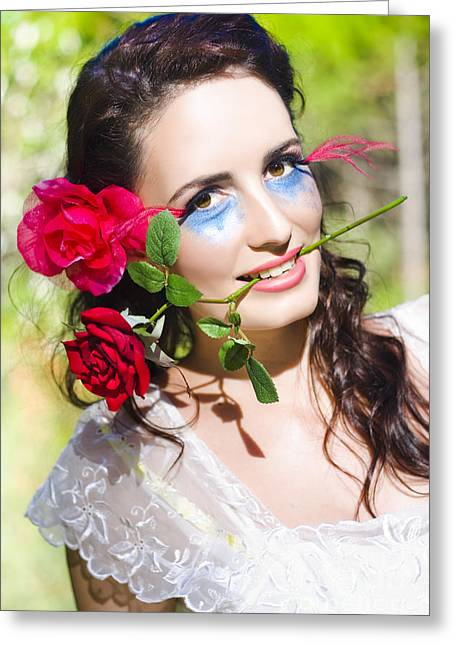 Natural Makeup Greeting Cards - Woman With Red Roses Greeting Card by Ryan Jorgensen