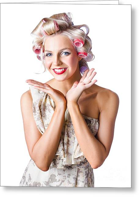Youthful Greeting Cards - Woman with rollers in hair Greeting Card by Ryan Jorgensen