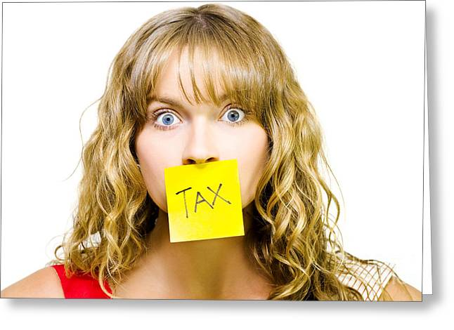Woman With Tax Note Over Mouth Greeting Card by Jorgo Photography - Wall Art Gallery