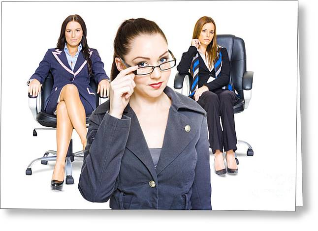 Cooperation Greeting Cards - Women achievers in corporate business Greeting Card by Ryan Jorgensen