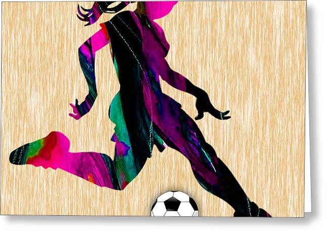 Girls Soccer Art Greeting Cards - Womens Soccer Greeting Card by Marvin Blaine