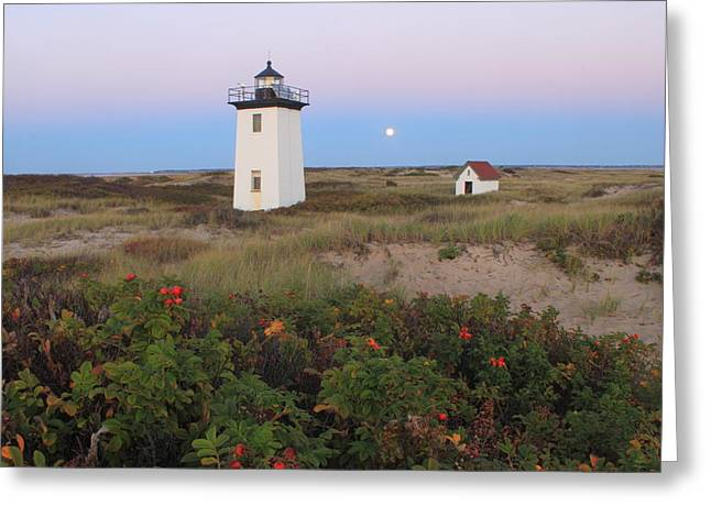 Cape Cod National Seashore Greeting Cards - Wood End Lighthouse Cape Cod Moonrise Greeting Card by John Burk