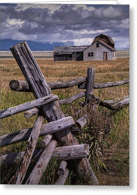 Brown Toned Art Greeting Cards - Wood Fence with John Moulton Farm  Greeting Card by Randall Nyhof