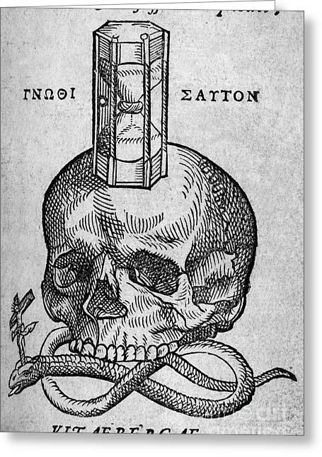 Symbology Greeting Cards - Woodcut Of Skull, Snake And Hourglass Greeting Card by Middle Temple Library