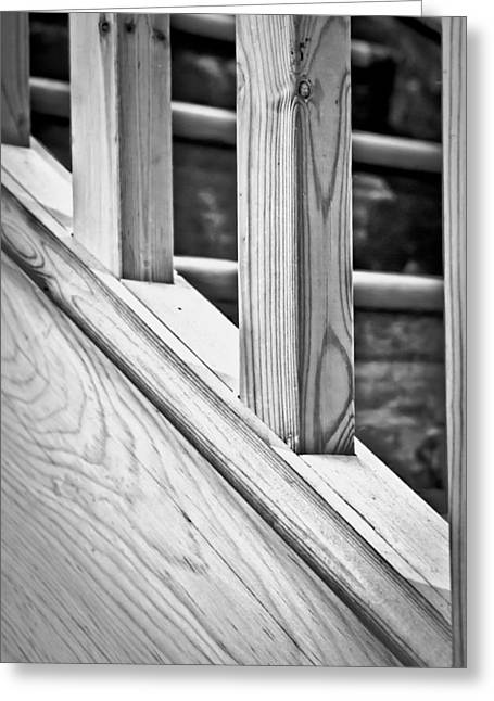 Wooden Stairs Greeting Cards - Wooden bannister Greeting Card by Tom Gowanlock