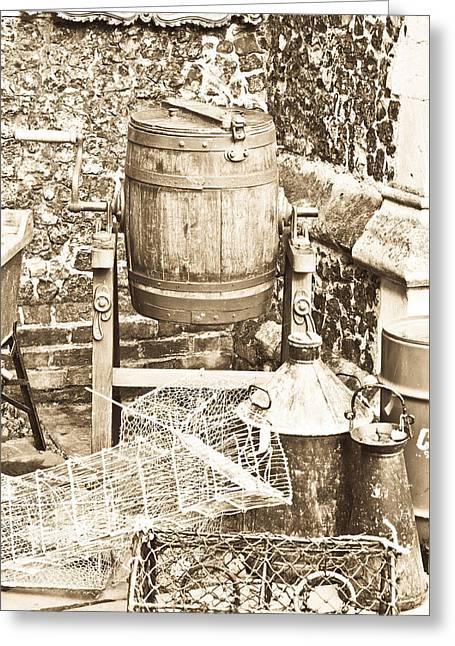 Vat Greeting Cards - Wooden barrel Greeting Card by Tom Gowanlock