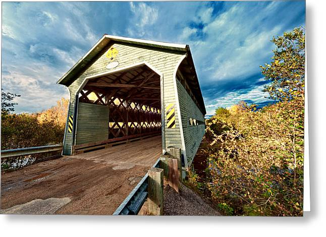 Old Roadway Greeting Cards - Wooden covered bridge  Greeting Card by Ulrich Schade