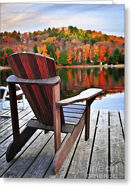 Algonquin Greeting Cards - Wooden dock on autumn lake Greeting Card by Elena Elisseeva