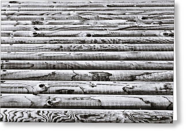 Timber Posts Greeting Cards - Wooden poles Greeting Card by Tom Gowanlock