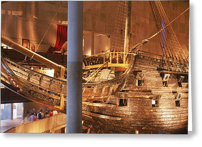 Reconstruction Greeting Cards - Wooden Ship Vasa In A Museum, Vasa Greeting Card by Panoramic Images