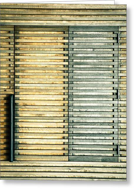 Brown Locks Greeting Cards - Wooden shutters Greeting Card by Tom Gowanlock