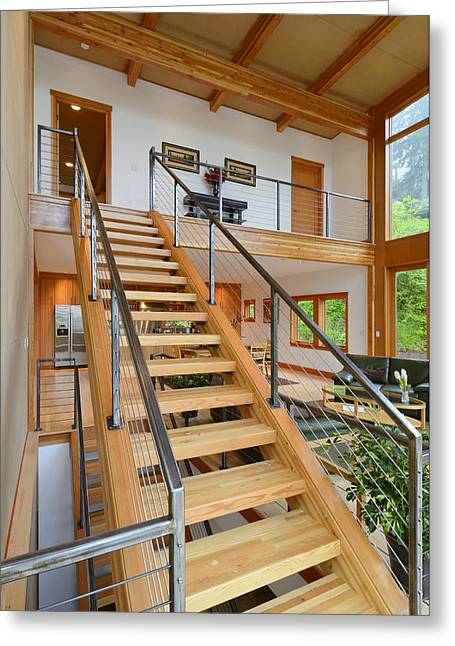 Wooden Stairs Greeting Cards - Wooden staircase Greeting Card by Will Austin