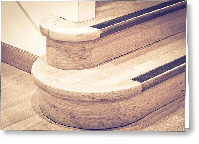 Floorboards Greeting Cards - Wooden stairs Greeting Card by Tom Gowanlock