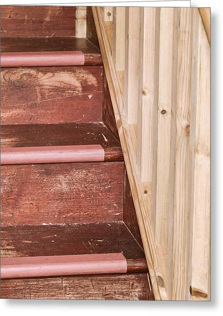 Wooden Stairs Greeting Cards - Wooden steps Greeting Card by Tom Gowanlock