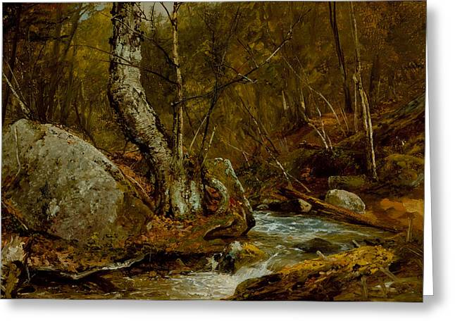 Fresh Green Paintings Greeting Cards - Woodland Interior Greeting Card by John Frederick Kensett