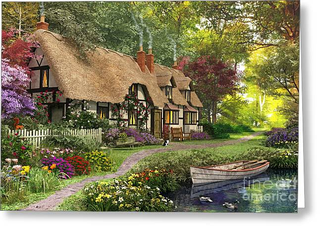 Thatch Digital Greeting Cards - Woodland Walk Cottage Greeting Card by Dominic Davison
