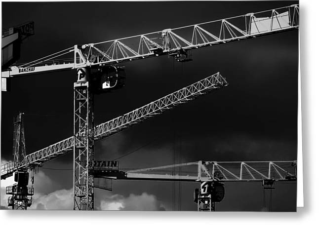 Heavy Industry Greeting Cards - Work Cranes before the Storm Greeting Card by Mountain Dreams