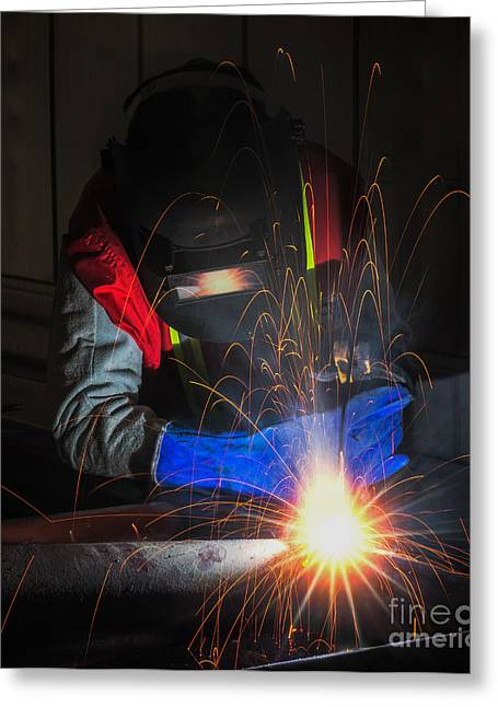 Production Line Greeting Cards - Worker Work Hard With Welding Process  Greeting Card by Anek Suwannaphoom