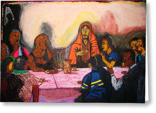 Last Supper Mixed Media Greeting Cards - Working Peoples Last Supper Greeting Card by Erman Selibio