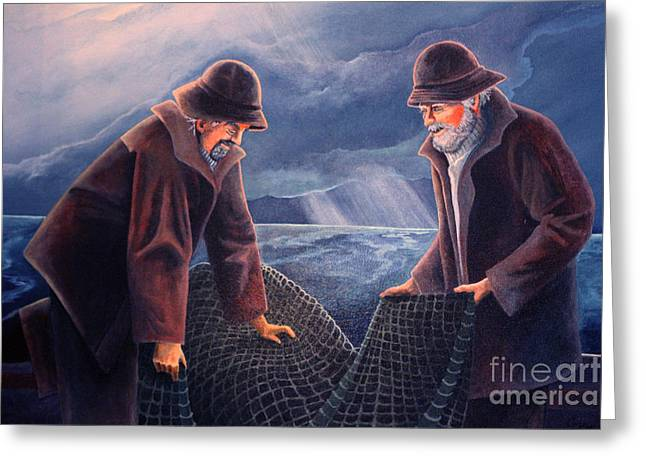 Netting Greeting Cards - Working the Nets Greeting Card by Corey Ford