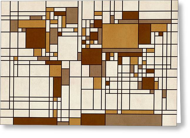 Cartography Digital Art Greeting Cards - World Map Abstract Mondrian Style Greeting Card by Michael Tompsett