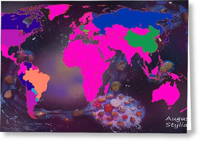 Constellations Greeting Cards - World Map and Scorpio Constellation Greeting Card by Augusta Stylianou