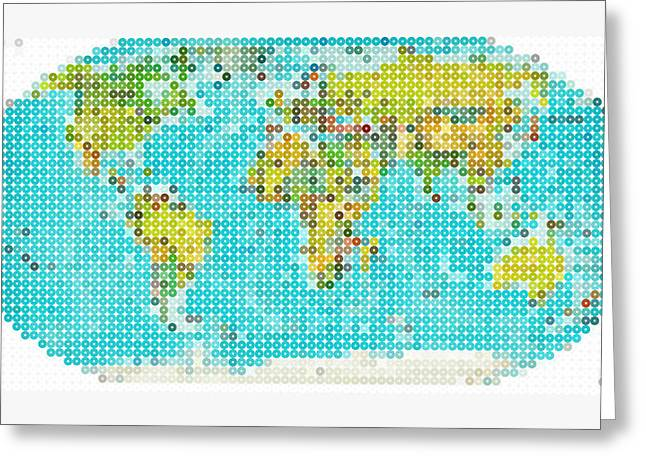 Abstract Digital Paintings Greeting Cards - World Map Greeting Card by Celestial Images