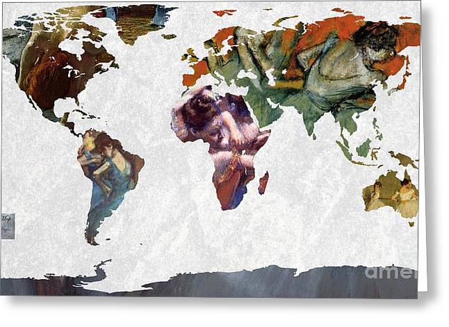 Ballet Dancers Greeting Cards - World Map  Degas 1 Greeting Card by John Clark
