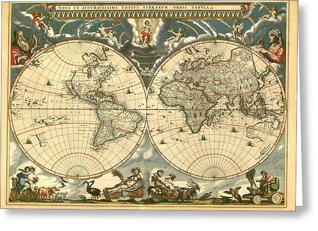 World Map Greeting Card by Gary Grayson