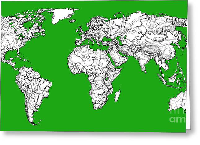 Continent Drawings Greeting Cards - World map in green Greeting Card by Lee-Ann Adendorff