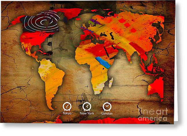 World Globe Greeting Cards - World Map Watercolor Greeting Card by Marvin Blaine