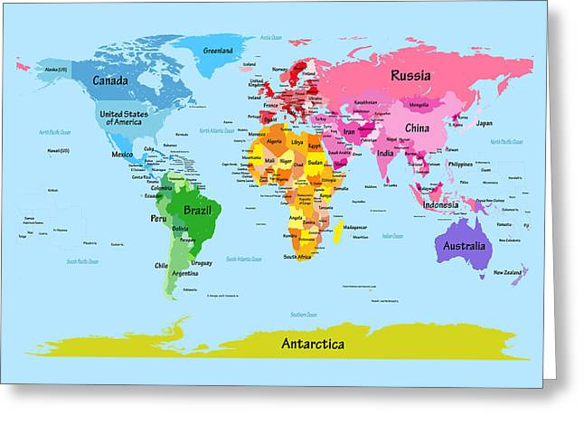 World Map Print Greeting Cards - World Map with Big Text Greeting Card by Michael Tompsett