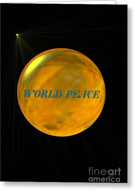 Contemporary Framed Prints Mixed Media Greeting Cards - World Peace Greeting Card by Gerlinde Keating - Keating Associates Inc