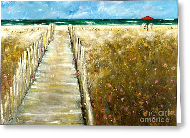 Beach Fence Greeting Cards - Worn Down The Middle Greeting Card by Frances Marino