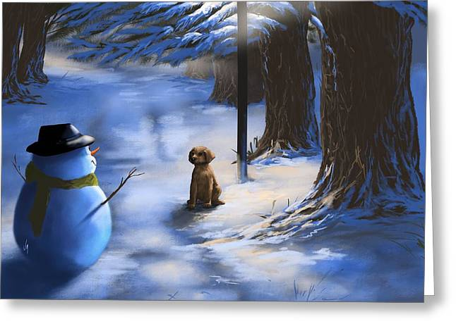 Snowy Night Greeting Cards - Would you like to play? Greeting Card by Veronica Minozzi